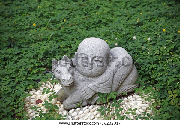 Granite Statue Cute Baby Monk Riding | Religion, Objects