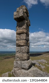 Granite Stone Widgery Cross on the Summit of Brat Tor near the Village of Lydford within Dartmoor National Park in Rural Devon, England, UK