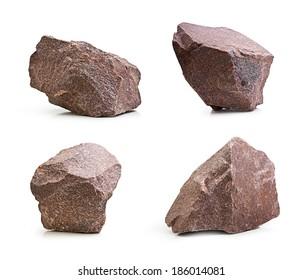 Pedras de granito, pedras definidas isoladas no fundo branco