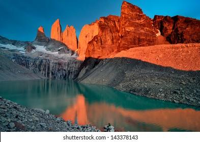 Granite towers of Torres del Paine, Chile.