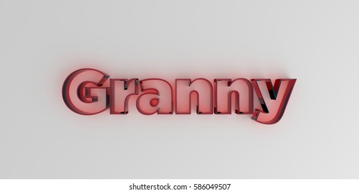 Granny - Red glass text on white background - 3D rendered royalty free stock image.
