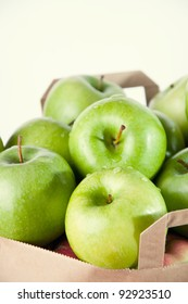 Granny smith apples in a shopping bag, close-up
