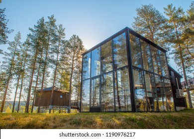 GRANO,  VASTERBOTTEN COUNTY , SWEDEN - 21 MAY  2018 : the Glass House a conference building situated at the Granö Beckasin Hotel Resort