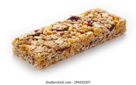 Granola bar with berries isolated on white background