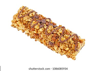 Granola bar with cereals and chocolate isolated on white background