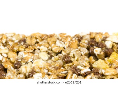 granola bar detail on white background