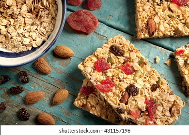 Granola bar on a blue wooden background