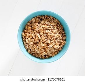 Granola in a Blue Bowl