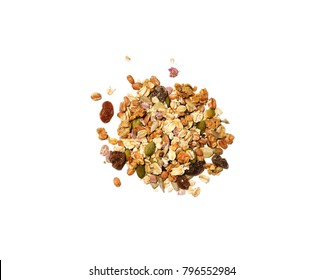 Granola cereals isolated on white background, top view. Delicious vegetarian breakfast concept, healthy diet meal, oatmeal, raisins, nuts and dry berries.