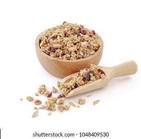 granola close up isolated on white background.