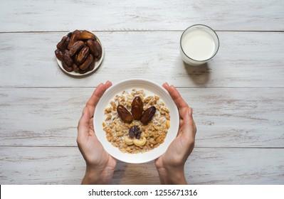 Granola with dates. Arabic Muesli with dates. Ramadan food.