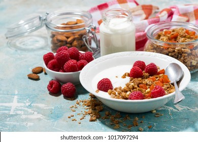 granola with dried apricots, raspberries and yogurt for breakfast, horizontal