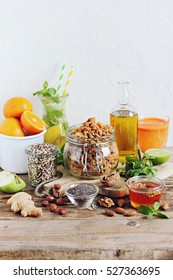 Granola and food set for super foods and healthy eating concept. Selective focus
