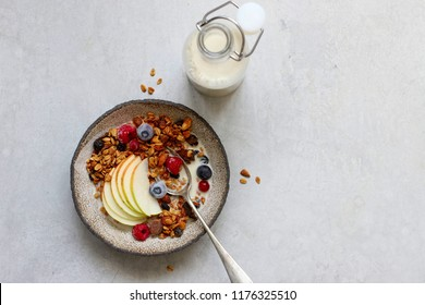 Granola, healthy Breakfast with milk. Snack  Topview