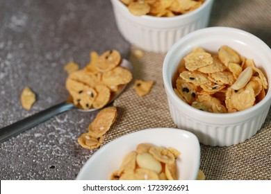 Granola healthy food cornflakes grains and nuts in breakfast natural and vegetarian eat with yogurt