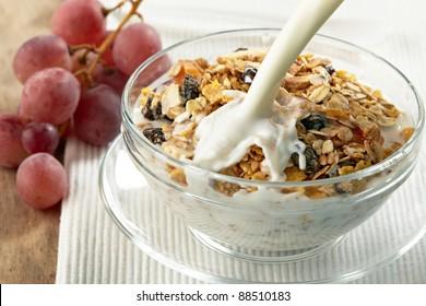 granola and milk splash