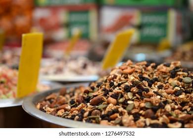 granola muesli at Mahane Yehuda, shuk, Jewish grocery market in Jerusalem, Israel