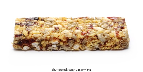 Granola muesli protein fruit bar with cranberries, isolated on white background