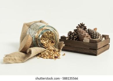Granola served in the jar