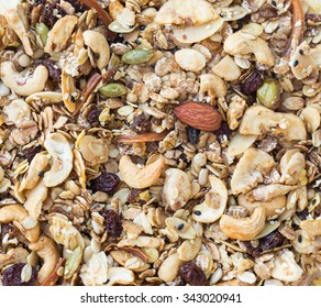 Granola texture background. Pile of granola with almonds and seeds before baking.
