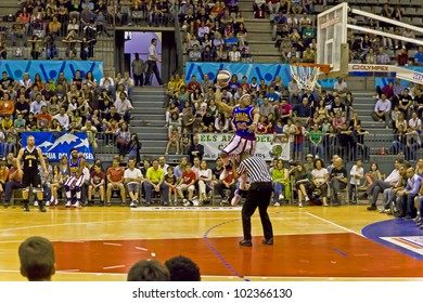 GRANOLLERS, SPAIN - MAY 11:  Hacksaw Hall offers a wonderful show of basketball     at The Harlem Globetrotters game at Palau d'Esports in Granollers, Catalonia, Spain on May 11, 2012