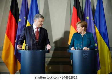 GRANSEE,, GERMANY - May 20, 2017: Chancellor of the Federal Republic of Germany Angela Merkel during a joint briefing with President of Ukraine Petro Poroshenko