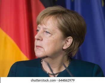 GRANSEE, GERMANY - May 20, 2017: Chancellor of the Federal Republic of Germany Angela Merkel during a joint briefing with President of Ukraine Petro Poroshenko