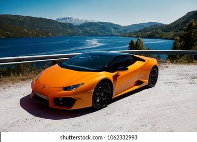 Gransherad, Norway. 04.06.2016:  Lamborghini Huracan
