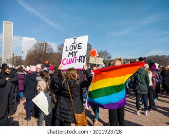 "GRANT PARK, CHICAGO-January 20, 2018. Women's March Rally. An unknown demonstrator holds a sign that reads ""I LOVE MY CUNT-RY""."