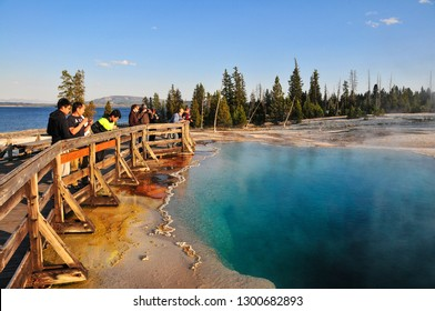 Grant Village, Wyoming USA - September 14, 2014:  West Thumb Geyser Basin in Yellowstone National Park