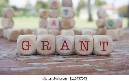 Grant word written on cube shape wooden blocks on wooden table.