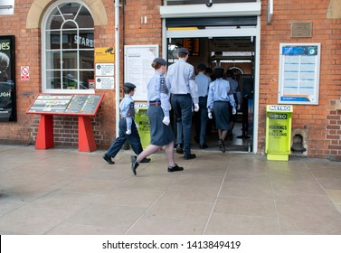 Grantham, United kingdom. 2 June 2019. 47F-Grantham ATC squadron air cadets entering at Grantham train station.