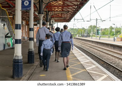 Grantham, United kingdom. 2 June 2019. 47F-Grantham ATC squadron air cadets marching at Grantham train station.