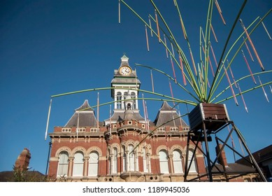 Grantham/England-September 27, 2018. Gravity fields installation in front of the Guildhall Arts Centre.