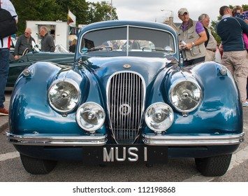 GRANTOWN ON SPEY, SCOTLAND - SEPTEMBER 2: Jaguar XK120 coupe on display in the annual Motor Mania car show on September 2, 2012 in Grantown On Spey, Scotland