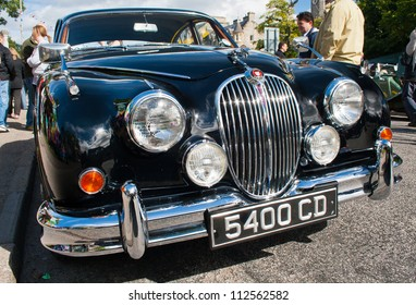GRANTOWN ON SPEY, SCOTLAND - SEPTEMBER 2: Jaguar MK2 on display in the annual Motor Mania car show on September 2, 2012 in Grantown On Spey, Scotland