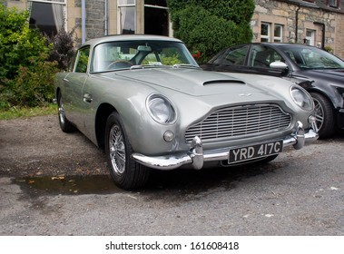 GRANTOWN ON SPEY, SCOTLAND - SEPTEMBER 1: Aston Martin DB5, famous for it's connection with the James Bond movies on September 1, 2013 in Grantown On Spey, Scotland
