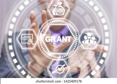Grants business concept. Grant education. Financial funding conceptual virtual banner.