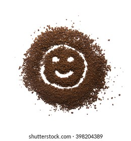 Granular coffee with happy face sign