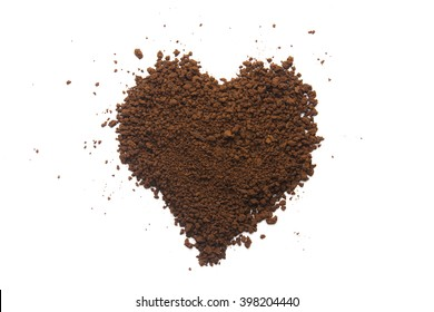 Granular coffee in heart shape