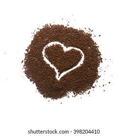 Granular coffee with heart sign