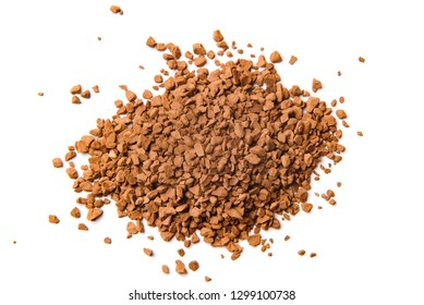 Granulated instant coffee on a white background