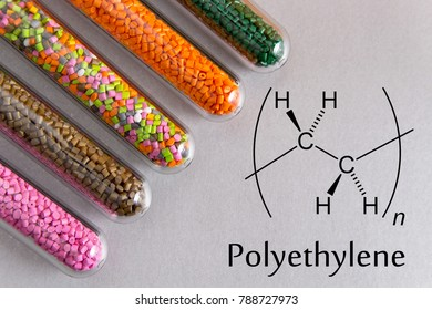 Granules of the POLYETHYLENE, chemical formula. Plastic pellets and scheme of the chemical structure .Colored Plastic Granules.