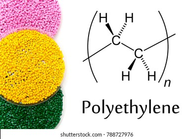 Granules of the POLYETHYLENE, chemical formula. Plastic pellets and scheme of the chemical structure .Colored Plastic Granules. High Density Polyethylene (PE-HD). PE-LD