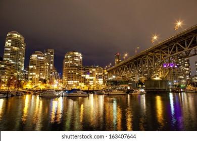 Granville bridge in Vancouver in night