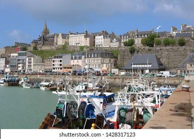 GRANVILLE, FRANCE- 27 APRIL : Sea port, Granville business card. Granville, Normandy. Manche region, France.