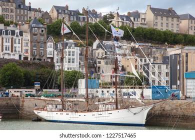Granville France, september 17 2018. Sailing boat in Granville harbor in Normandy France.