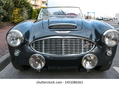 GRANVILLE, FRANCE-JULY 2019: The Austin-Healey 100-6 Roadster is an automotive two-seater, the British manufacturer Austin-Healey. Collectible car.