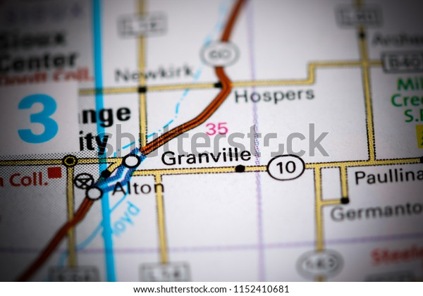Granville. Iowa. USA on a map