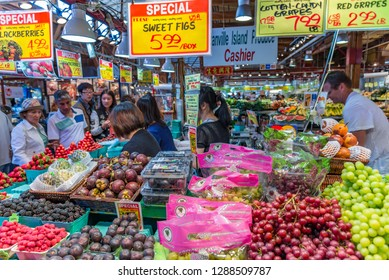 Granville Island, British Columbia / Canada - 06/15/2015 Granville Island Public Market the place to pick up fruit, vegetables and that tasty treat.